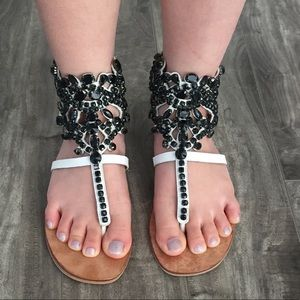 Jeffrey Campbell black jeweled sandals size 7.5